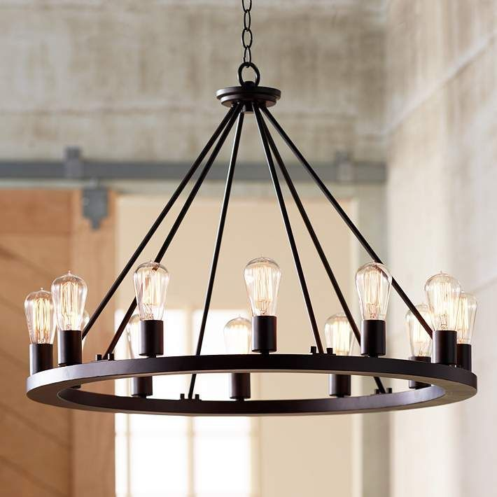 Lacey 28 Wide Round Black Chandelier W7307 Lamps Plus Black Chandelier Lacey Lamps Round Round Chandelier Dining Chandelier Farmhouse Chandelier