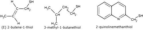 4... y adquirir un olor repulsivo cuya base química la compone moléculas del grupo tiol así como tioésteres que pueden ser detectados por el olfato humano en una concentración de 10 partes por billón.