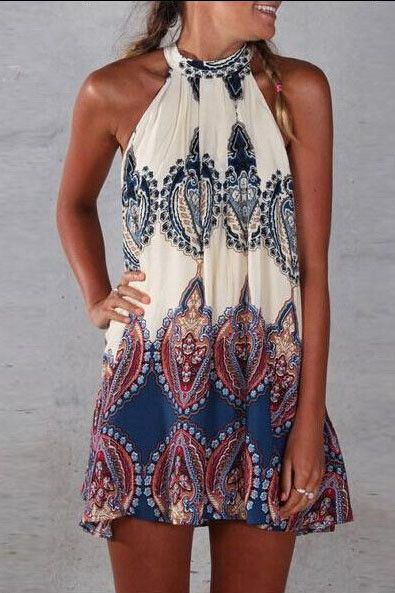 Fashion Print High-Necke Sleeveless Dresses