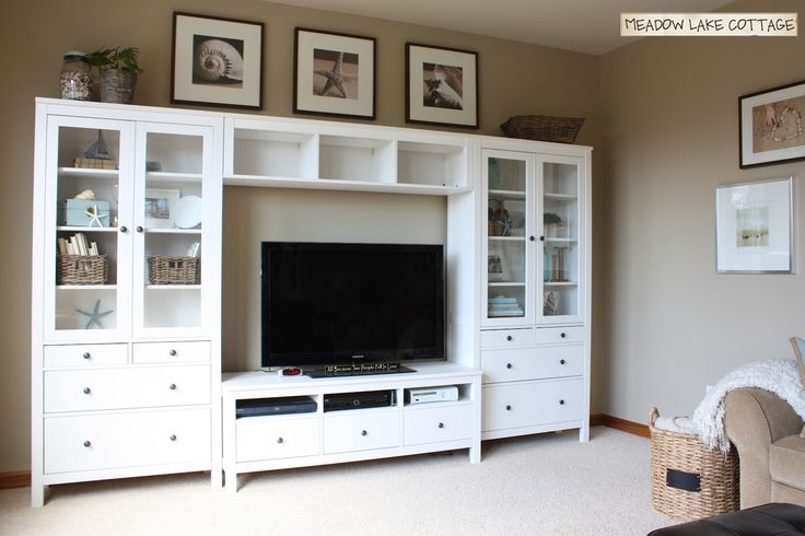 Ikea Hemnes TV stand and cabinets for a budget friendly entertainment unit. Could also bookshelves from the same collection
