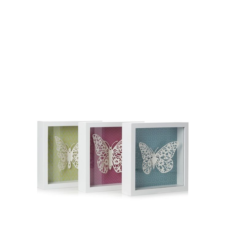 Butterfly home by matthew williamson designer pack of three white butterfly wall art at debenhams