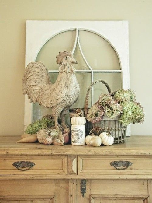Love! Window pane, country rooster, hydrangea basket vignette.