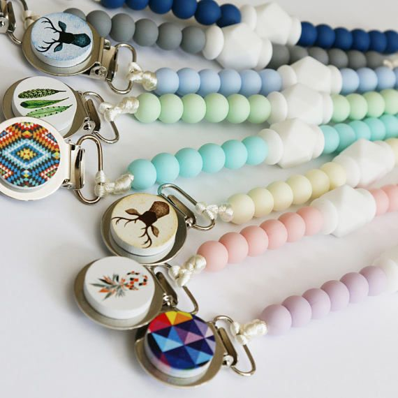Pacifier Clip in Your Choice of Colour - Silicone Beads - with white hexagon bead & a miniature artwork! Custom Dummy Chains Australia