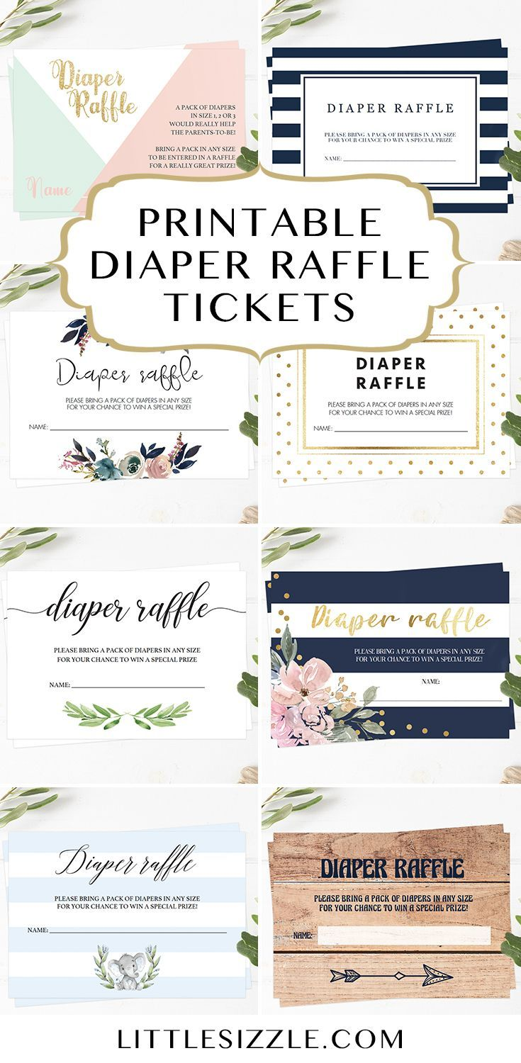 Printable Diaper Raffle Tickets By LittleSizzle Unique Baby Shower Cards For Girl Or Boy Who Doesnt Love A During The