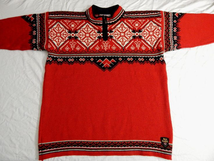 EUC Dale of Norway US Ski Team 1/4 Zip Heavy Wool Red Sweater Size XL…