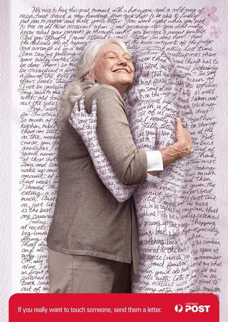 """Australia Post: Hug - """"If you really want to touch someone, send them a letter"""" / Agency M Saatchi, Melbourne, Australia (2007)"""