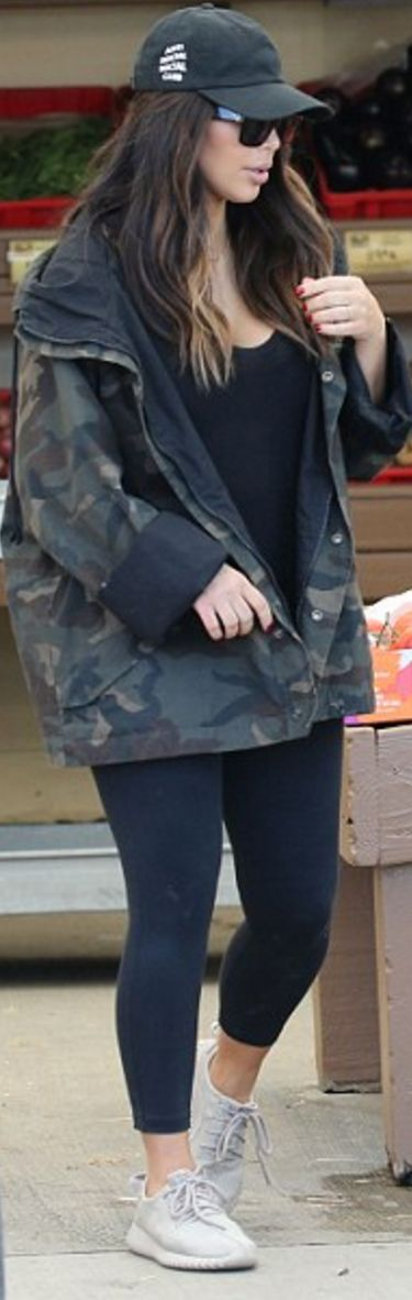 Kim Kardashian: Shoes and coat – Adidas  Hat – Anti Social  Pants – Lululemon  Sunglasses – Celine  Shirt – T by Alexander Wang