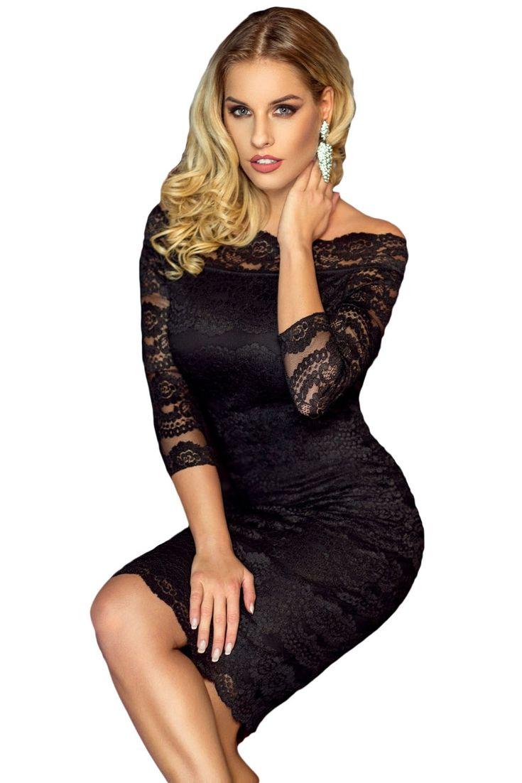 Sukienka czarna koronka odkryte ramiona