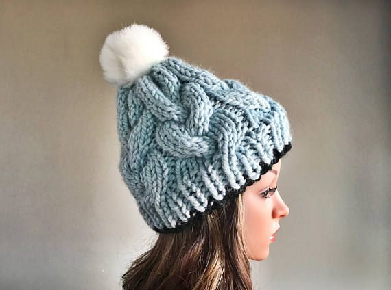 Disney Hat / Cinderella Princess Hat / Princess Hat / Slouch Knit Hat / Chunky  Winter  Hat /  Women's Winter Hat / Knitted Hat / Pom Pom