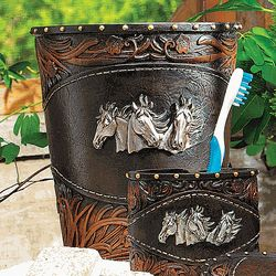 Horse Tooled Leather Waste Basket
