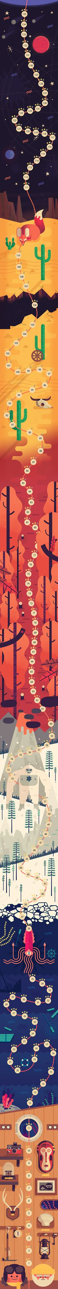 TwoDots UI- Owen Davey. Davey creates intrigue through the geometric abstraction of the animals, coupled with a sense of rhythm through repetition. Colour is also used successfully, using tonal variation to suggest depth and atmosphere. The gradients are a nice touch- helps transition from one environment to the other.