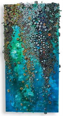 """Waterfall""by Amy ?     Paper and acrylic on canvas.  paper, paint, and glue exploration of texture, pattern and color. Evocative of natural forms and organic processes,  is both, irregular and ordered. constructs pieces by layering, cutting, rolling, and combining paper. Sometimes  adds metal and wood."