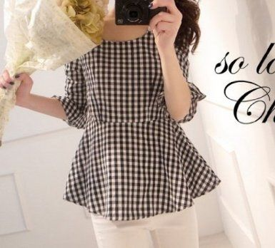 Amazon.co.jp: M's style 大人 可愛い ギンガム チェック ペプラム トップス ファッション チュニック コーディネート かわいい カットソー レディース ブラック ピンク: 服&ファッション小物