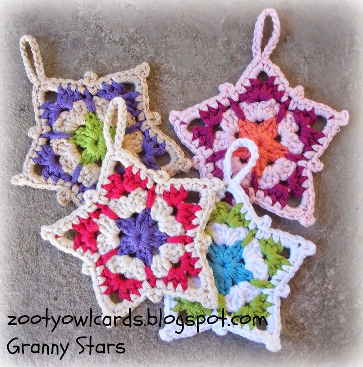 quick and easy to make granny stars made last year (takes longer to sew in the tails than it does to make the stars!)   Crochet stars