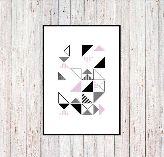 Pink Triangles Printable Geometric Printable by KYLprintable