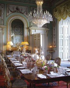 Inveraray Castle State Dining Room. The elaborate painting was completed in 1784 by two French artists Girard & Guinard, whose work only survives at Inveraray.  The painting is of a quality unparalleled in Britain at that time. Girard was one of the principal decorative artists employed by the young Prince of Wales when decorating his grand residence Carlton House.