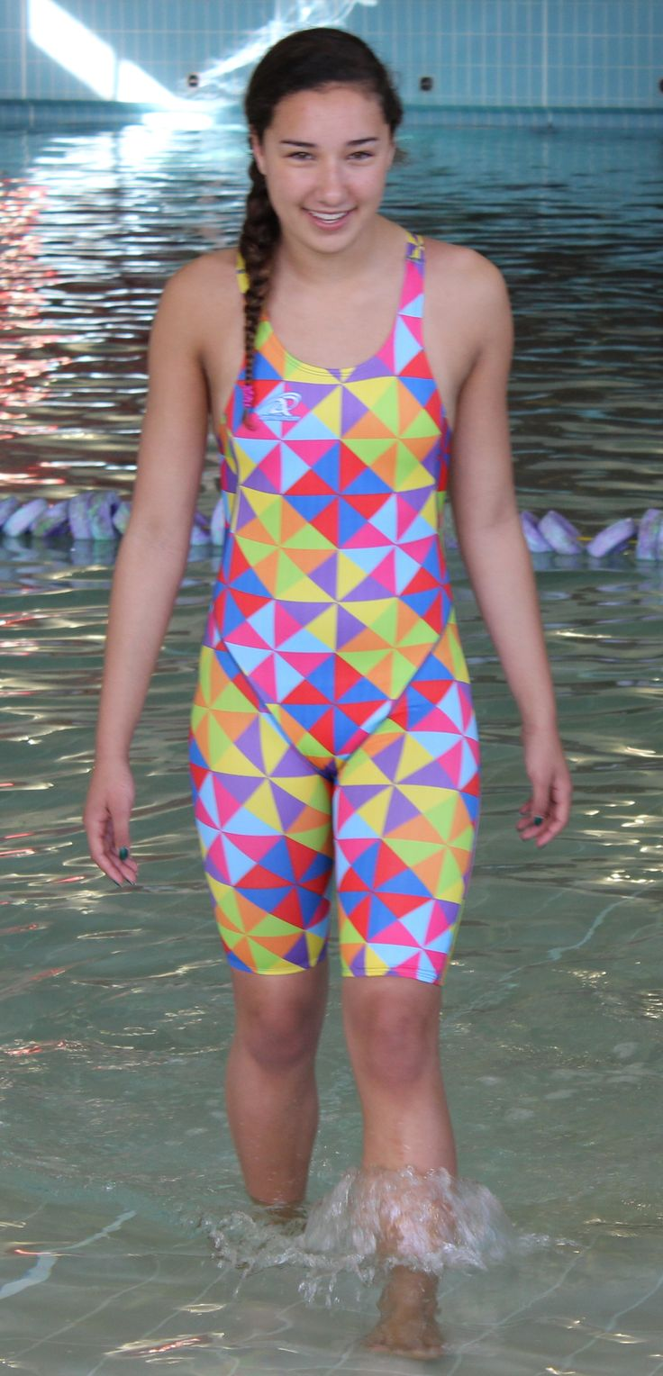 Pinwheel design Agonswim proback racing kneeskins. Available from www.swimspiration.co.nz