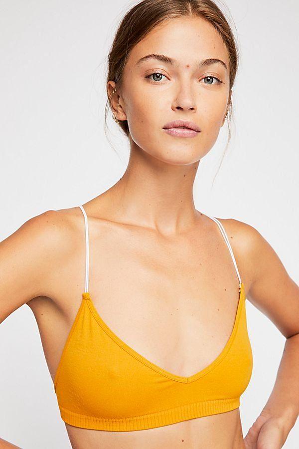 bdf87d9fb7 Skinny Strap Bralette - Marigold Yellow Racerback Skinny Strap Bralette
