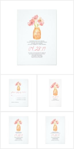 Watercolor Blush Floral Wedding Set Elegant and modern watercolor wedding invitations, RSVP cards, bridal shower invitations, rehearsal dinner invitations, program cards, engagement party invitations, and save the date postcards  with hand painted mason jar and blush flowers bouquet. Trendy invitations for your country rustic wedding theme with mason jars.