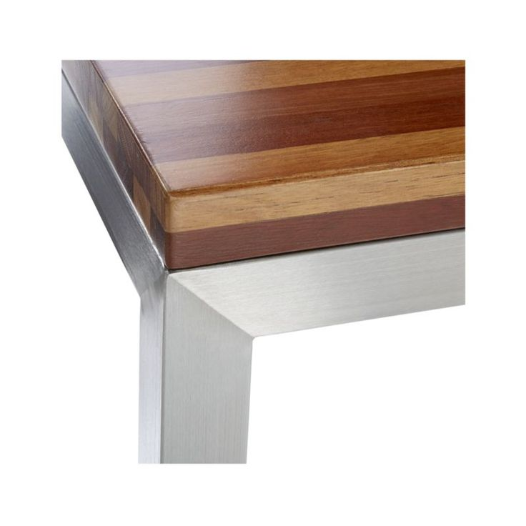 Parsons Reclaimed Wood Top Stainless Steel Base 36x36