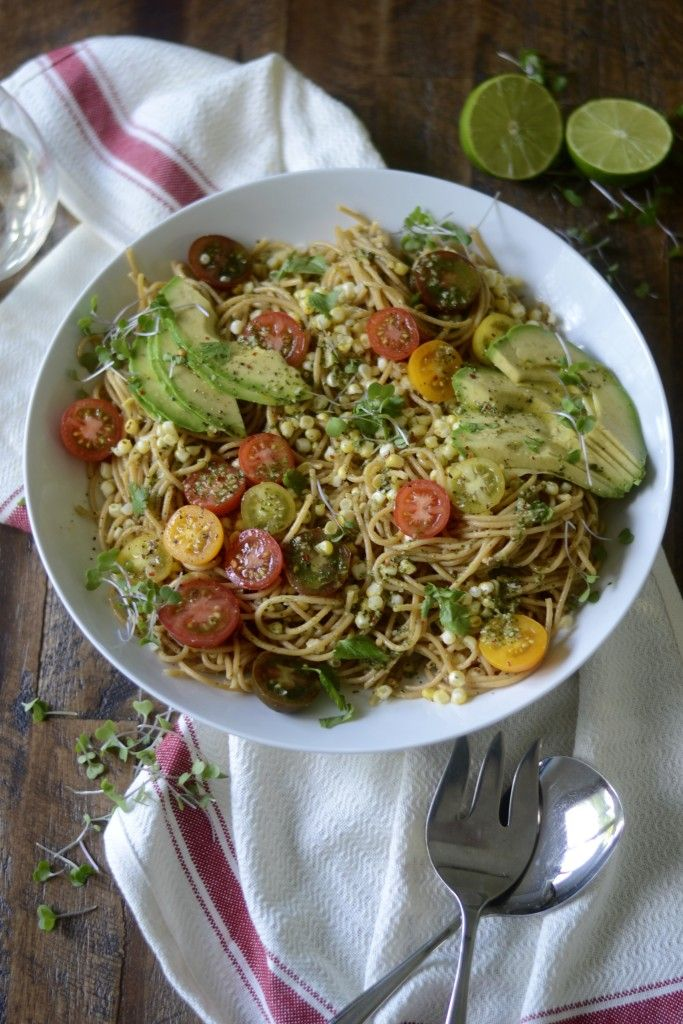 Avocado, Charred Corn, and Heirloom Tomato Pasta with Cilantro-Chile ...