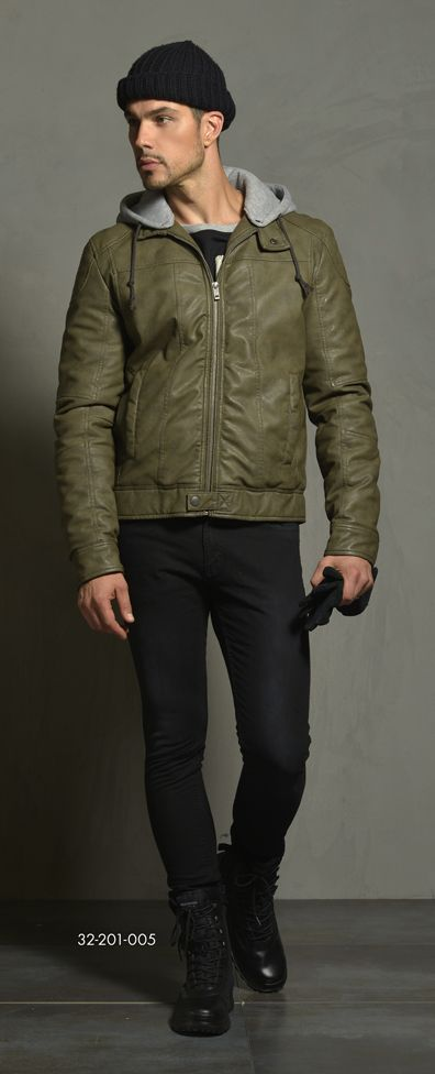Men's immitation leather jacket with detachable flannel hood. www.biston.gr