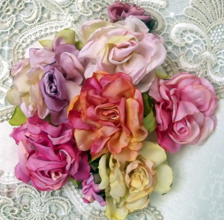 180 best flowers ribbon tuts ideas images on pinterest fabric more roses made from white taffeta ribbon by linda land mightylinksfo