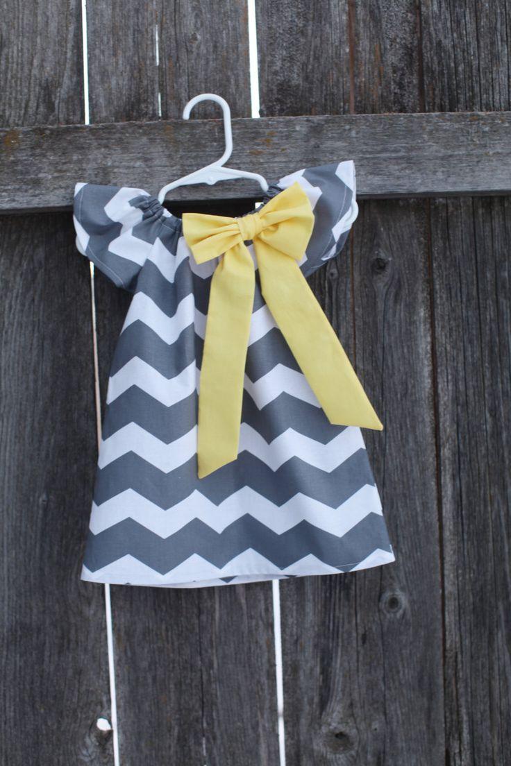 Gray and Yellow Chevron Peasant Dress - Baby Girl. $27.50, via Etsy.