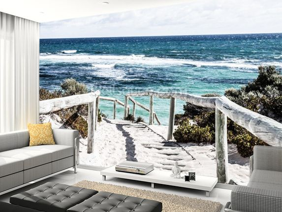 Rottnest Island wall mural room setting. Matching the floor and other wall colors add to the effect to draw you in.