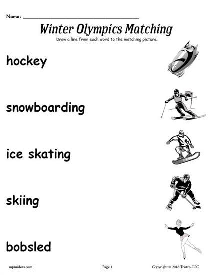 Free Printable Winter Olympics Matching Worksheet Winter Olympics