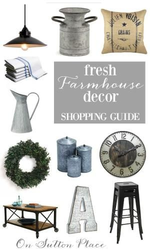 Farmhouse Style Decor Shopping Guide | Great source for getting the Farmhouse look at a reasonable price. Easy links to lighting, accessories, furniture and more. #spon by audrey