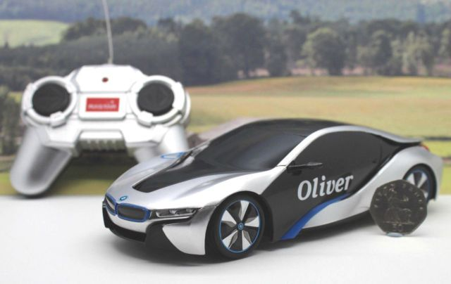 PERSONALISED NAME GIFT Radio Control Silver 1/24 BMW i8 Boxed