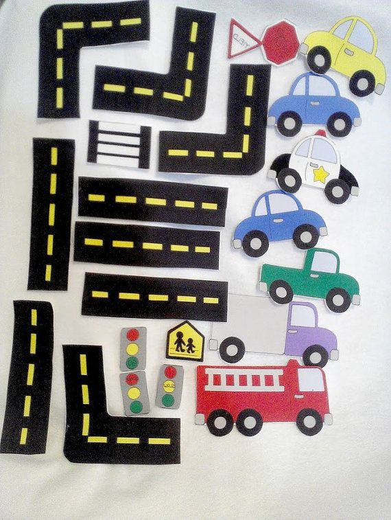 Car felt shapes set  21 pieces felt shapes for flannel boards or felt boards Educational homeschool