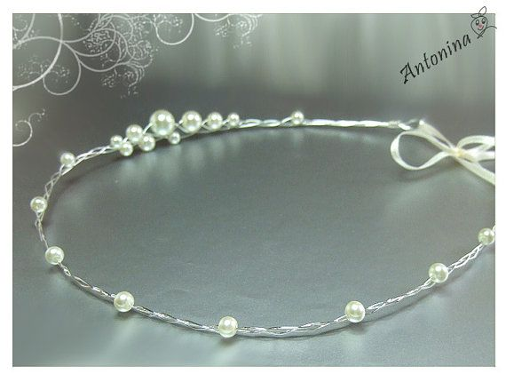 Hair wreath tiara with pearls wedding bridal tiara with pearls