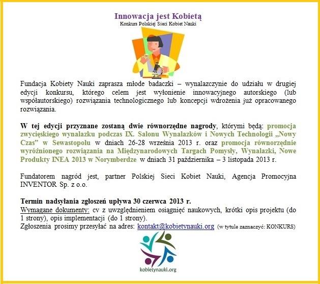 """II edycja Konkursu """"Innowacja jest Kobietą""""!!!"""