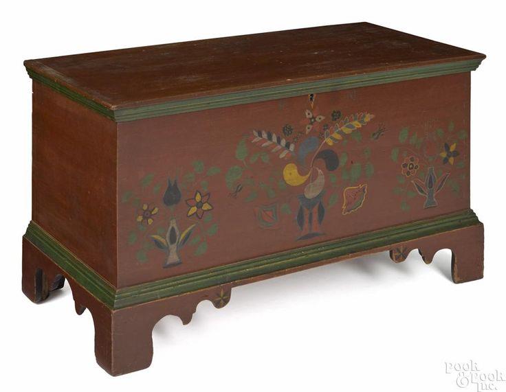 Fulton County, Pennsylvania painted poplar diminutive dower chest, ca. 1850 - Price Estimate: $12000 - $18000