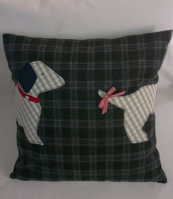 Chasing tail Dachshund cushion cover by handmadebysarahjane