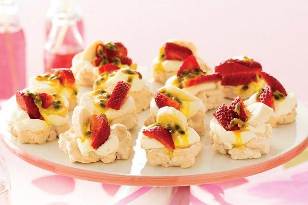 Mini Pavlova with Strawberry, Banana, Passionfruit