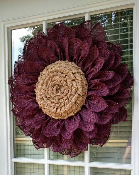 Check out this item in my Etsy shop https://www.etsy.com/listing/540040130/burlap-flower-wreath