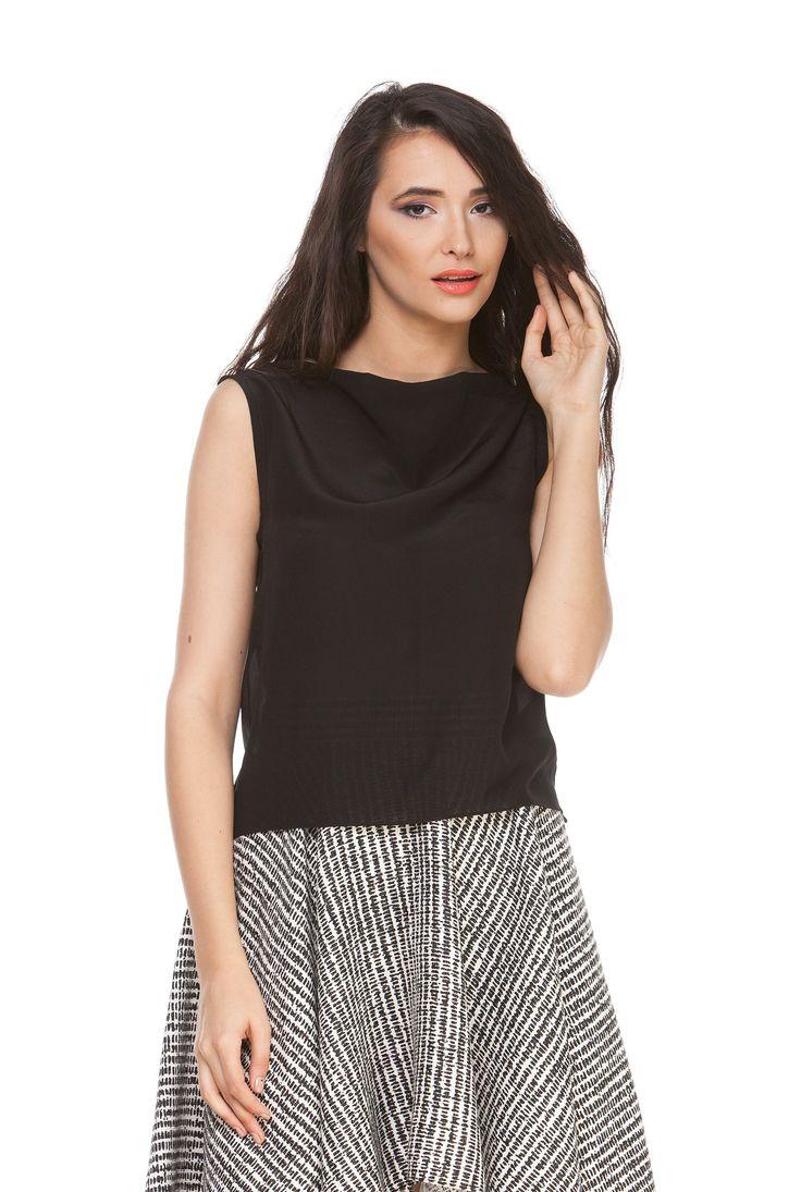 Bluza neagra din matase naturala 6021 de la Ama Fashion