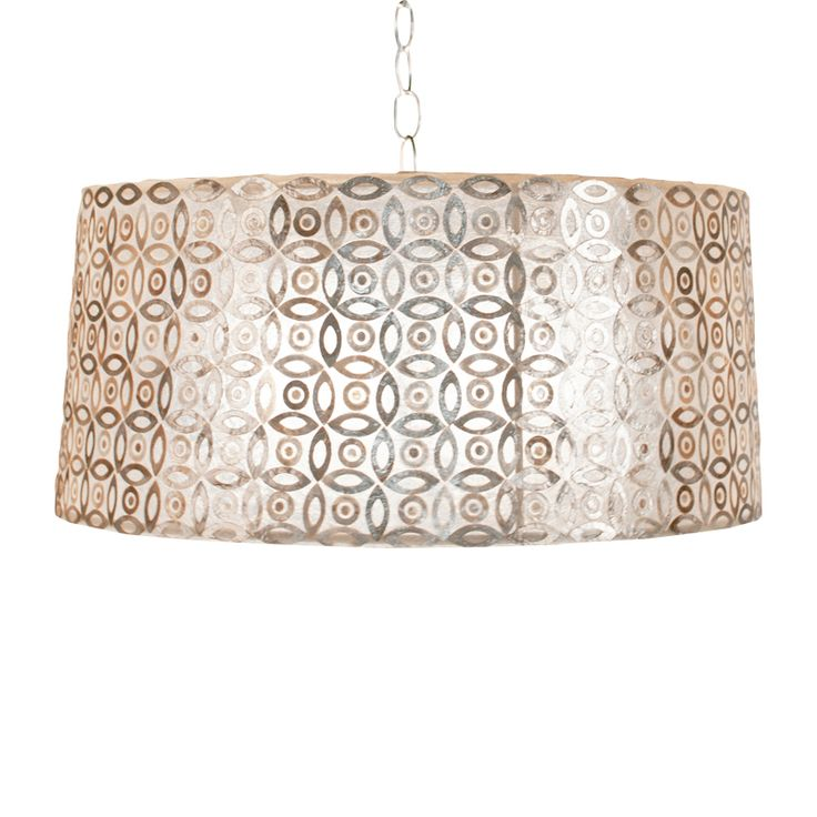 "World Away 9""H Inlaid Capiz Drum Pendant With Internal Double Socket For Two 60W Bulbs And A Diffuser SHAWN SM"
