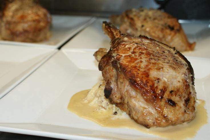 Maple Glazed Pork Chop-Served with Creamy Sauerkraut and Duck Confit ...