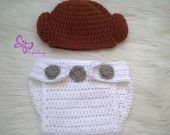 $25 Crochet Princess Leia Hat and Diaper cover set From Star Wars For Girl Halloween Baby Star Wars Princess Leia crochet hat and diaper cover