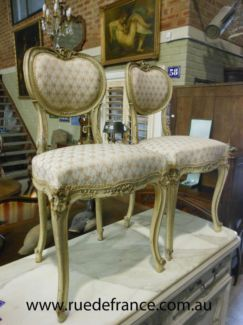 2 -ANTIQUE FRENCH PAINTED FINISH BEDROOM SIDE CHAIRS - LOUIS XV