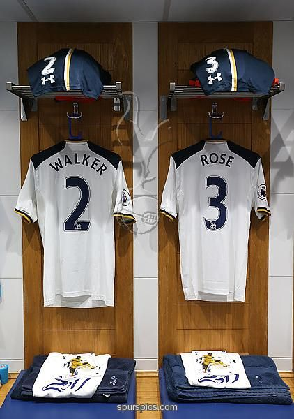 LONDON, ENGLAND - JANUARY 14: Kyle Walker of Tottenham Hotspur and Danny Rose of Tottenham Hotspur shirts hang in the changing room prior to the Premier League match between Tottenham Hotspur and West Bromwich Albion at White Hart Lane on January 14