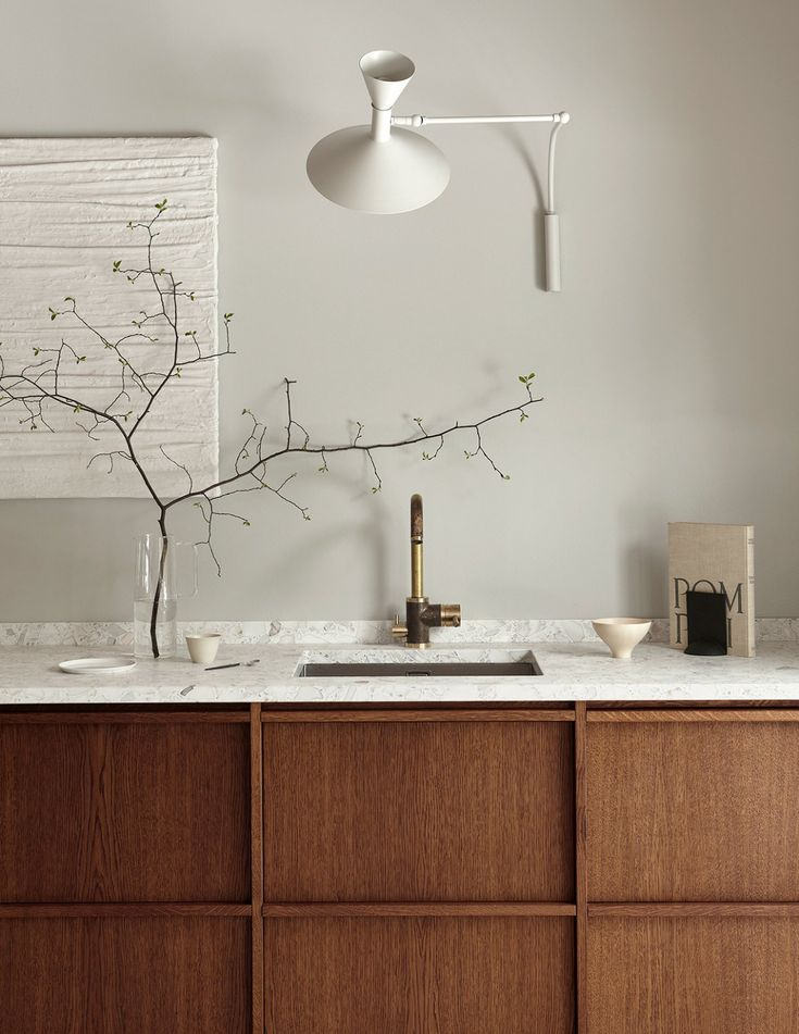 Rustic minimalistic kitchen in dark oak - via Coco Lapine Design blog