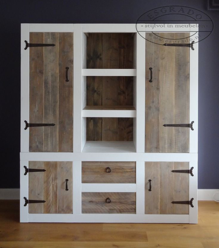 natural wood tones mixed with paint and rustic hardware on hutch or cabinet