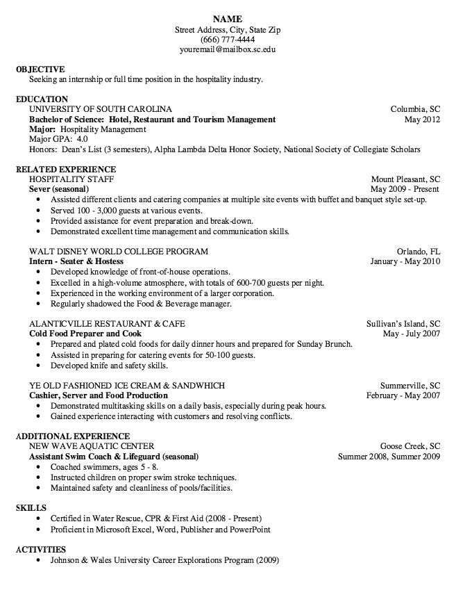 Hostess Resume Server Resume Sample To Inspire You How To Create
