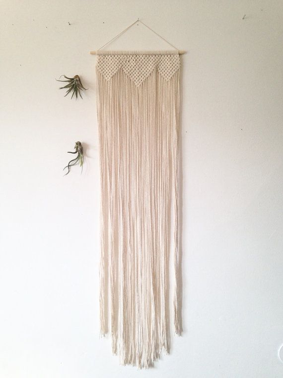 Song Sparrow: Overture A new, handmade modern macrame wall hanging, cotton on a light wood dowel.  The wood dowel is 12 long,  The…