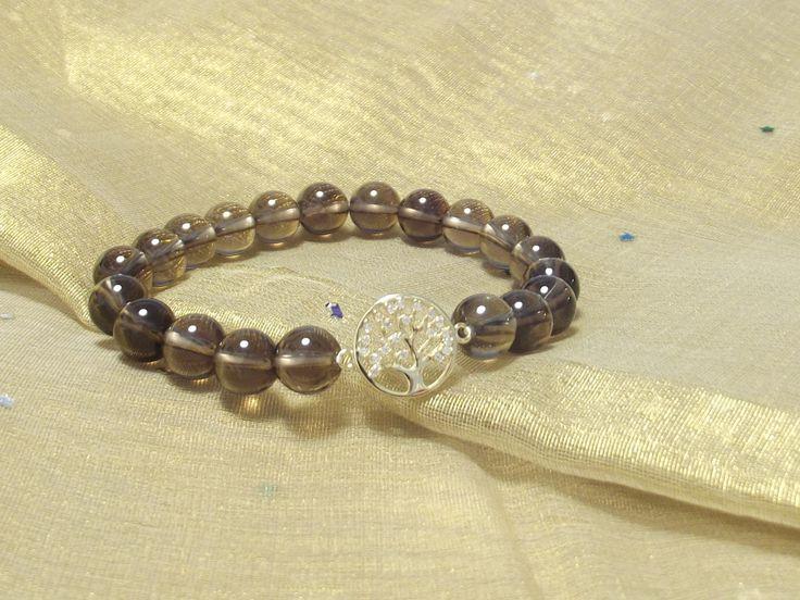 """Wunderschönes Armband Natur Rauchquarz -  Perlen, """"Baum des Lebens""""  925 Silber Vergoldet Zwischenteil mit Zirkonia Symbolarmband Lifetree von silberstrich auf Etsy"""